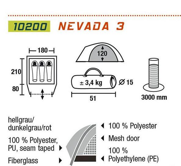 Палатка двухслойная High Peak Nevada 3, Кол-во человек: 3, Входов/комнат: 1/1, Тамбуров: 1, Внутренняя палатка