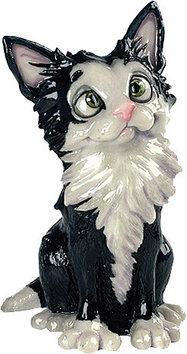 Статуэтка декоративная Arora Кошка Комета , Высота: 200 мм, Материал: Керамистоун, Цвет: Чёрно-белый, (515)