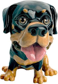 Статуэтка декоративная Arora Собака Ротвейлер Рокки, Высота: 135 мм, Материал: Керамистоун, Цвет: Чёрно-коричн