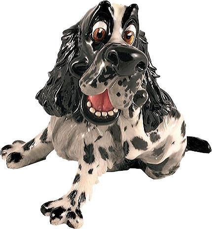 Статуэтка декоративная Arora Собака Спаниель Честер, Высота: 175 мм, Материал: Керамистоун, Цвет: Чёрно-белый,