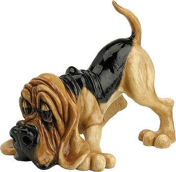 Статуэтка декоративная Arora Собака Гончая Бо, Высота: 220 мм, Материал: Керамистоун, Цвет: Чёрно-коричневый,