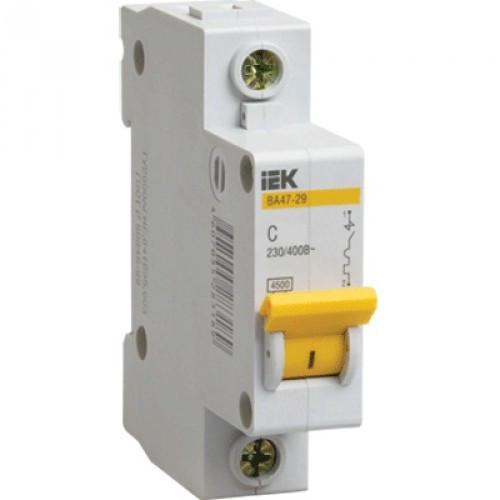 Автоматический выключатель реечный IEK ВА47-29 1P 25А, 230/400 В, Кол-во полюсов: 1, Предел отключения: 4,5 кА