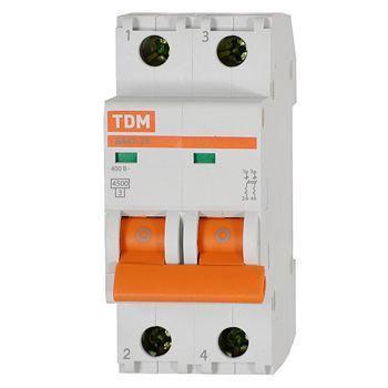 Автоматический выключатель реечный TDM ВА47-29 2P 16А, 230/400 В, Кол-во полюсов: 2, Предел отключения: 4,5 кА