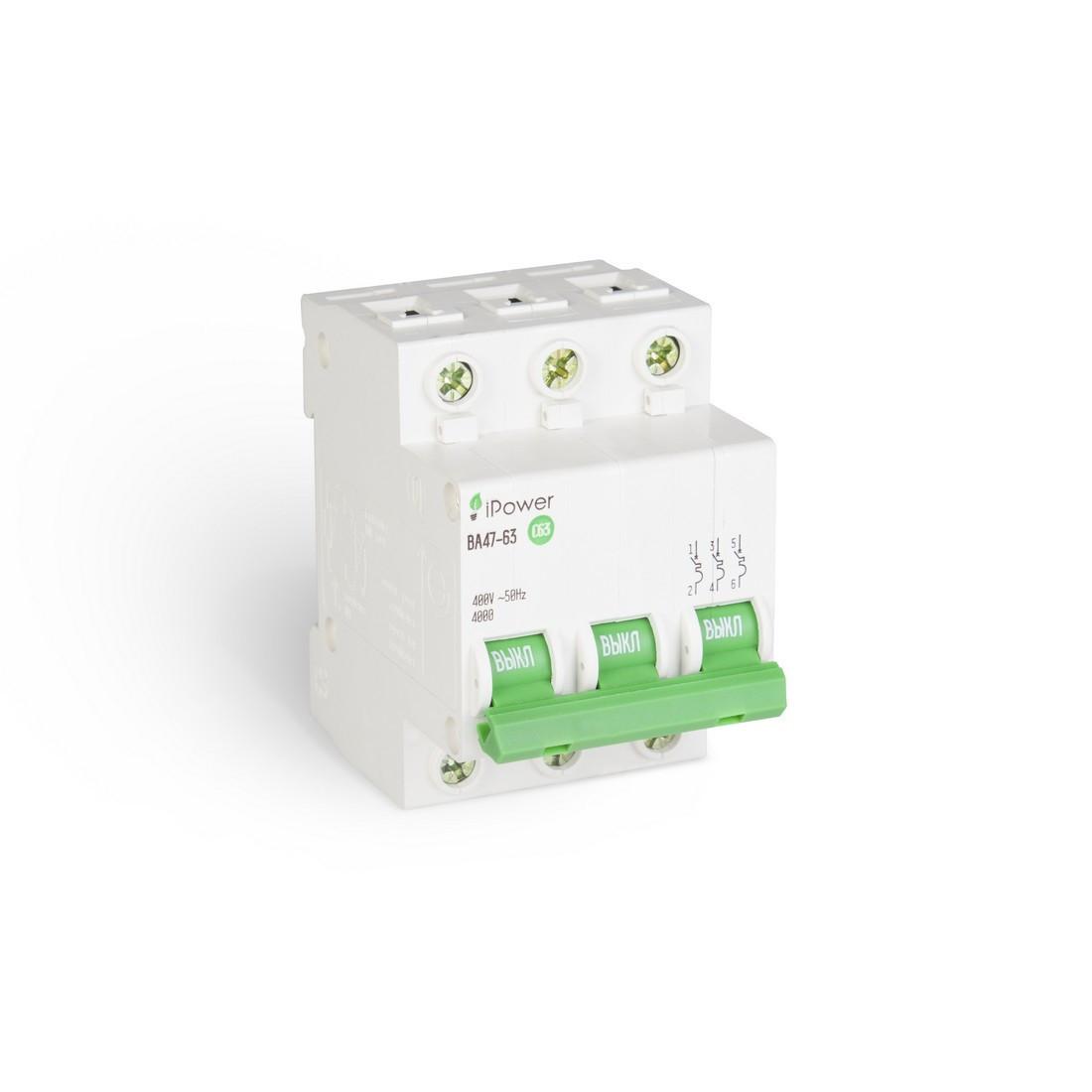 Автоматический выключатель реечный iPower ВА47-63 3P 6А, 230/400 В, Кол-во полюсов: 3, Предел отключения: 4,5