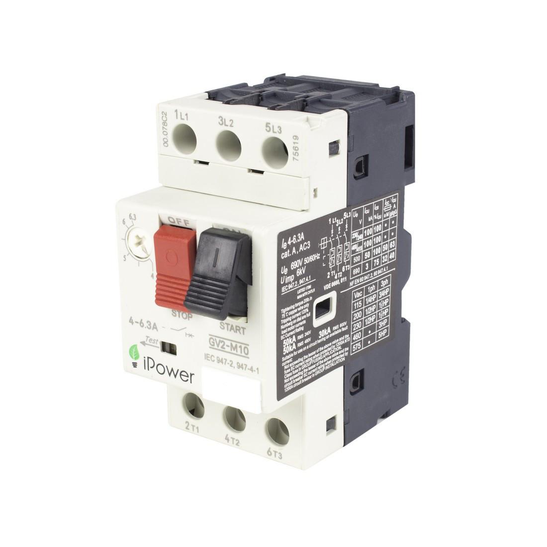 Автомат защиты двигателя реечный iPower GV2-M06 3P 1,6А, 380 В, Кол-во полюсов: 3, Защита: От перегрузок, коро