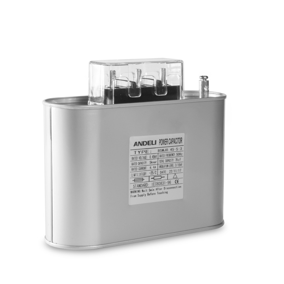 Конденсатор компенсации реактивной мощности Andeli BSMJ0.45-5-3, Ёмкость: 79 мкФ, Мощность: 5 кВАр, Напряжение