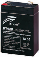 Батарея необслуживаемая (аккумулятор) Ritar RT628 (6V 2,8 Ah), Емкость аккумулятора: 2,8 Ah, Разъемы: F1