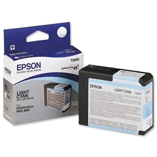 Картридж Epson C13T580500 (№T5805), Объем: 80 мл, Копий ( ISO 19752): 400, Цвет: Светло-голубой, Совместимость