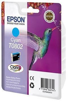 Картридж Epson C13T08024011 (№T0802), Объем: 7,4 мл, Копий ( ISO 19752): 330, Цвет: Голубой, Совместимость: St