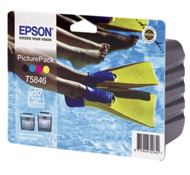 Набор из картриджа и бумаги Epson C13T58464010 (№T5846), Копий ( ISO 19752): 150, Цвет: Цветной, Совместимость