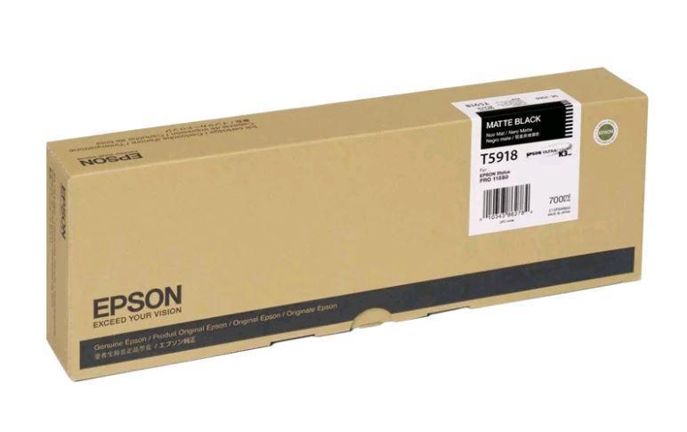 Картридж Epson C13T591800 (№T5918), Объем: 700 мл, Копий ( ISO 19752): 330, Цвет: Чёрный матовый, Совместимост