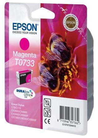 Картридж Epson C13T10534A10 (№T0733), Объем: 5,5 мл, Копий ( ISO 19752): 275, Цвет: Пурпурный, Совместимость: