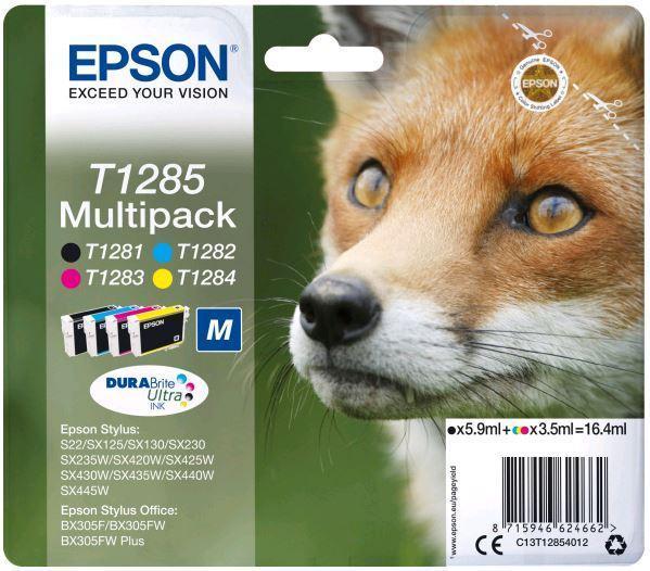 Набор картриджей Epson C13T12854012 (№T1285M), Объем: Чёрный - 5,9 мл; цветной - 3,5 мл, Копий ( ISO 19752): Ч