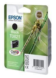 Картридж Epson C13T11214A10 (№T0821), Объем: 7,5 мл, Копий ( ISO 19752): 300, Цвет: Чёрный, Совместимость: Sty
