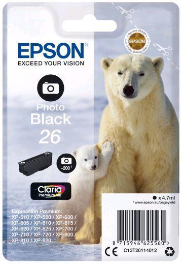 Картридж Epson C13T26114012 (№26), Объем: 4,7 мл, Цвет: Чёрный фото, Совместимость: XP600/605/700/800