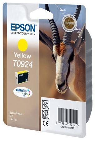 Картридж Epson C13T10844A10 (№T0924), Объем: 5,5 мл, Копий ( ISO 19752): 470, Цвет: Жёлтый, Совместимость: Sty