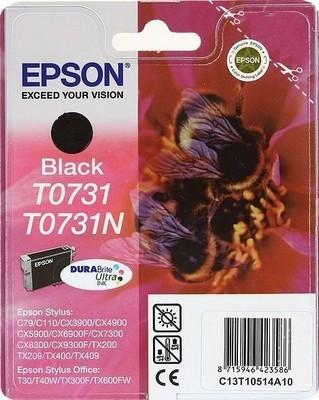Картридж Epson C13T10514A10 (№T0731, T0731N), Объем: 7,4 мл, Копий ( ISO 19752): 245-260, Цвет: Чёрный, Совмес