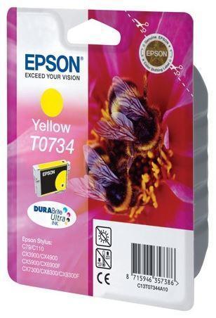 Картридж Epson C13T10544A10 (№T0734), Объем: 5,5 мл, Копий ( ISO 19752): 475, Цвет: Жёлтый, Совместимость: Sty