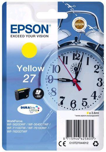 Картридж Epson C13T27044022 (№27), Объем: 3,6 мл, Копий ( ISO 19752): 300, Цвет: Жёлтый, Совместимость: WorkFo