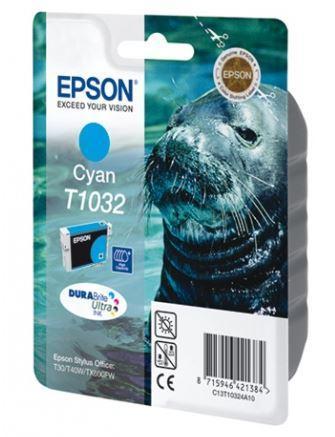 Картридж Epson C13T10324A10 (№T1032), Объем: 25,9 мл, Копий ( ISO 19752): 1015, Цвет: Голубой, Совместимость: