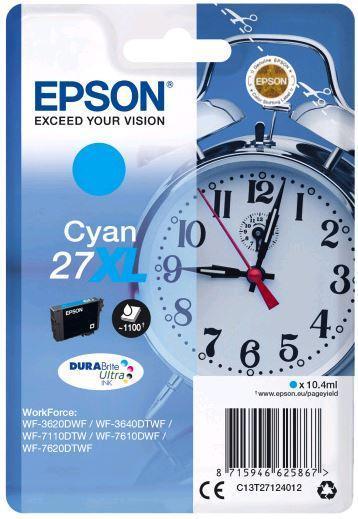 Картридж Epson C13T27124022 (№27XL), Объем: 10,4 мл, Копий ( ISO 19752): 1100, Цвет: Голубой, Совместимость: W