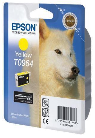 Картридж Epson C13T09644010 (№T0964), Объем: 11,4 мл, Копий ( ISO 19752): 890, Цвет: Жёлтый, Совместимость: St