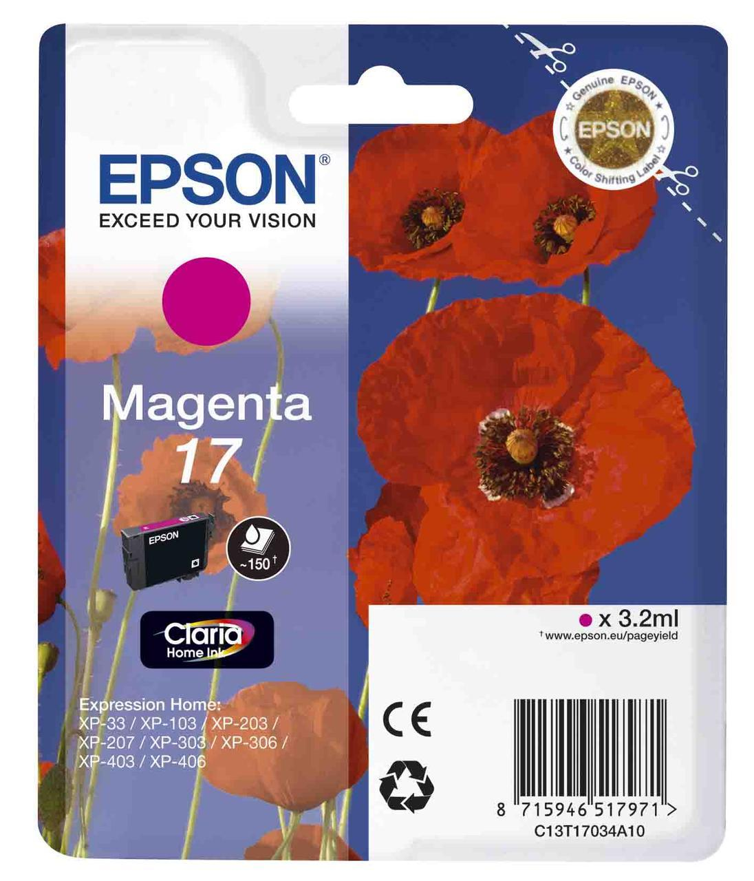 Картридж Epson C13T17034A10 (№17), Объем: 3,2 мл, Копий ( ISO 19752): 150, Цвет: Пурпурный, Совместимость: Exp