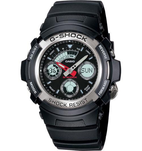 Часы электронные наручные мужские Casio G-SHOCK AW-590-1A, Механизм: Кварц, Браслет: Ремешок из полимерного ма