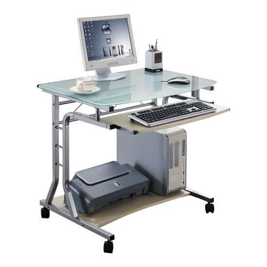 Стол компьютерный Deluxe Gamma, Материал: МДФ, стекло, Цвет: Светло-бежевый, (DLFT-3791ACT)