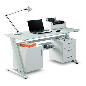 Стол компьютерный Deluxe Sofia, Материал: Стекло, Цвет: Белый, (DLFT-3315CT)