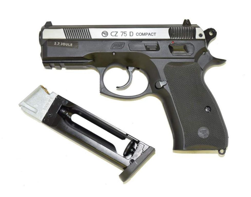 Пистолет для страйкбола ASG CZ 75D Compact silver slide, Калибр: 4,5 мм (.177, BB), Дульная энергия: 1,1 Дж, Ё