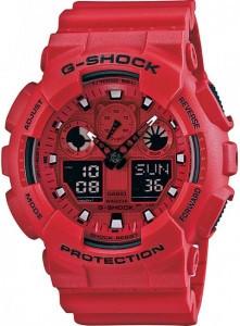 Часы электронные наручные мужские Casio G-SHOCK GA-100C-4A, Механизм: Кварц, Браслет: Ремешок из полимерного м