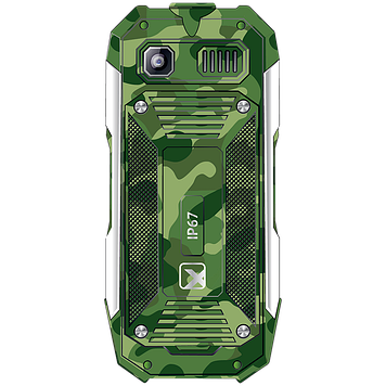 Телефон сотовый кнопочный Texet TM-518R, Класс защиты IPX: IP67, Кол-во слотов SIM: 2, Цвет: Зелёный