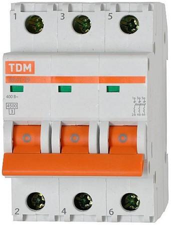Автоматический выключатель реечный TDM ВА47-29 3P 63А, 230/400 В, Кол-во полюсов: 3, Предел отключения: 4,5 кА