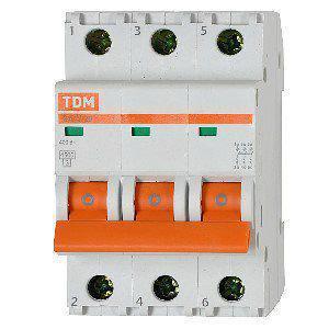 Автоматический выключатель реечный TDM ВА47-63 3P 32А, 230/400 В, Кол-во полюсов: 3, Предел отключения: 4,5 кА