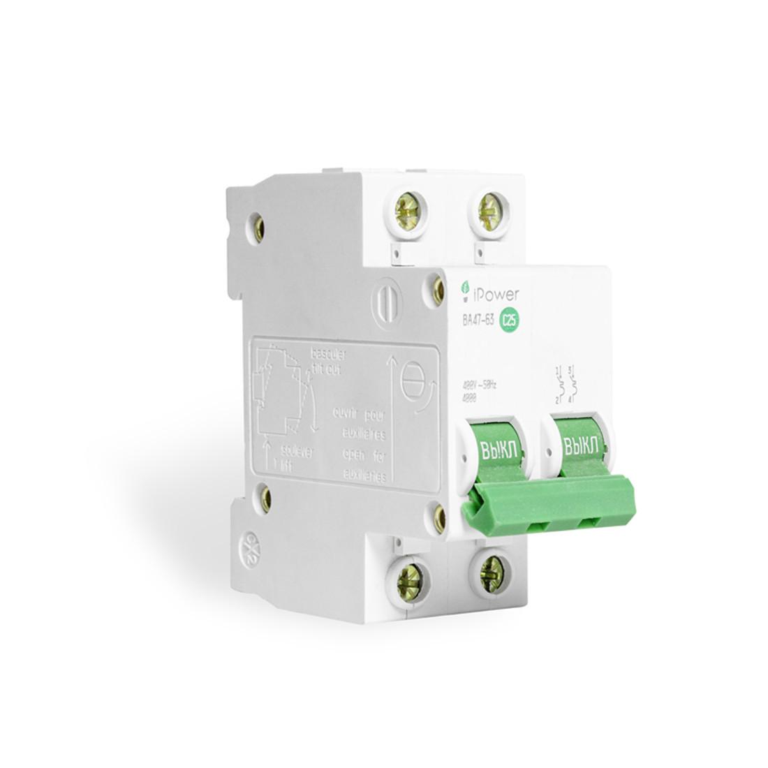 Автоматический выключатель реечный iPower ВА47-63 2P 25А, 230/400 В, Кол-во полюсов: 2, Предел отключения: 4,5