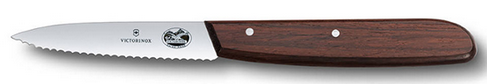 Нож для чистки овощей Victorinox Paring  Knife Chef Serrated Rosewood, Длина клинка: 80 мм, Материал клинка: Н