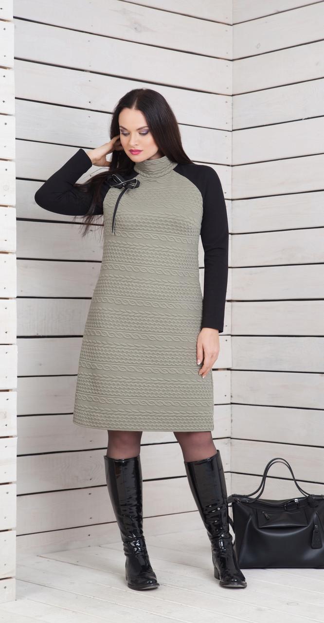 Платье ElPaiz-274, черный+коричневый, 46