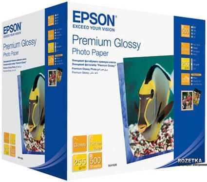 Фотобумага Epson Premium Glossy Photo Paper, 10 x 15, односторонняя, глянцевая, 255 г/м ², Упаковка: 500 листо