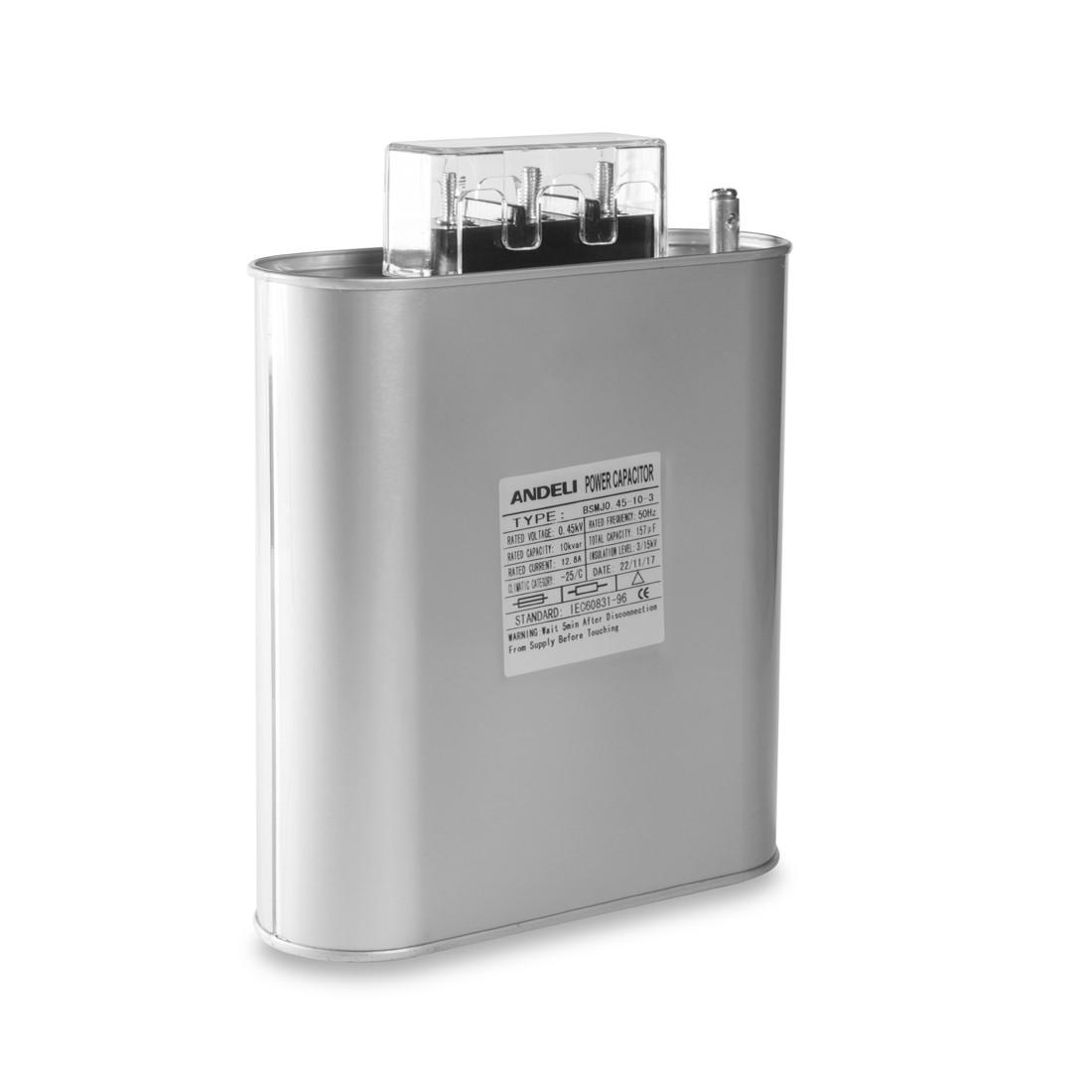 Конденсатор компенсации реактивной мощности Andeli BSMJ0.45-10-3, Ёмкость: 157 мкФ, Мощность: 10 кВАр, Напряже