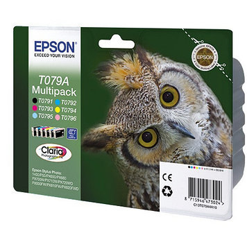 Набор картриджей Epson C13T079A4A10 (№T079A), Цвет: Чёрный, Пурпурный, Жёлтый, Голубой, Светло-голубой, Светло