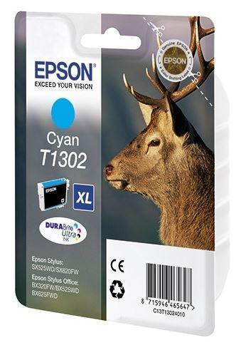 Картридж Epson C13T13024012 (№T1302XL), Объем: 10,1 мл, Копий ( ISO 19752): 765, Цвет: Голубой, Совместимость: