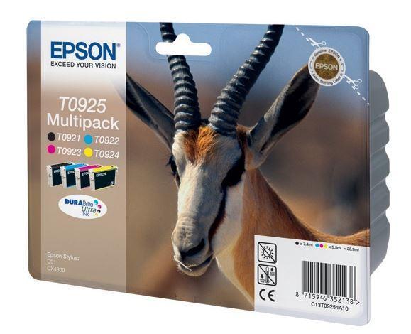 Набор картриджей Epson C13T10854A10 (№T0925), Объем: 4 х 7,4 мл, Копий ( ISO 19752): 240черн, 280цв, Цвет: Для