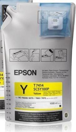 Набор для заправки картриджа Epson C13T773440 (№T7414), Объем: 1 л * 6 шт., Цвет: Жёлтый, Совместимость: SureC