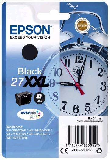 Картридж Epson C13T27914022 (№27XXL), Объем: 34,1 мл, Копий ( ISO 19752): 2200, Цвет: Чёрный, Совместимость: W