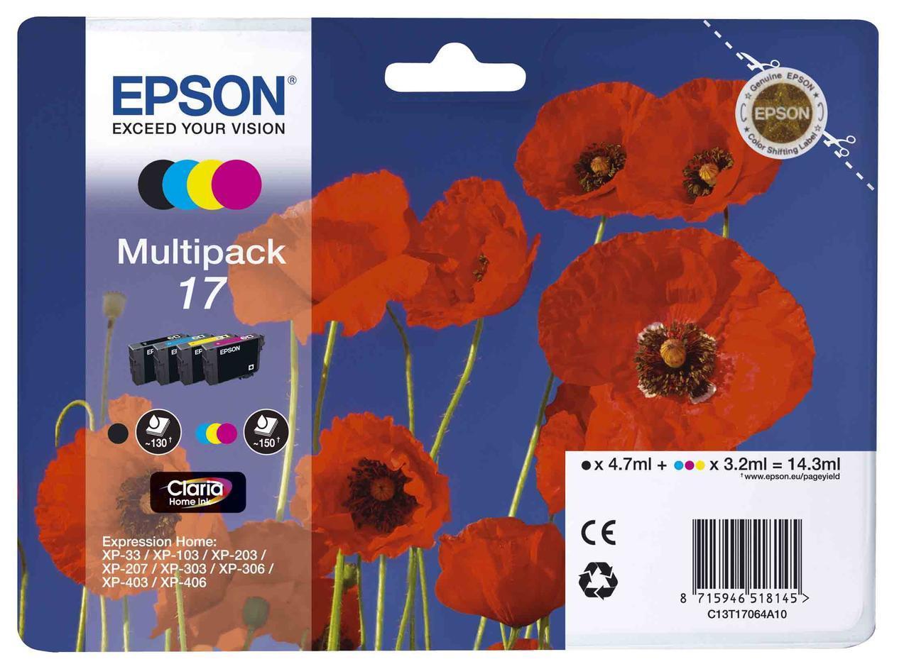 Картридж Epson C13T17064A10, Объем: Чёрный - 4,7 мл; цветной - 14,3 мл, Цвет: Чёрный, голубой, пурпурный, жёлт