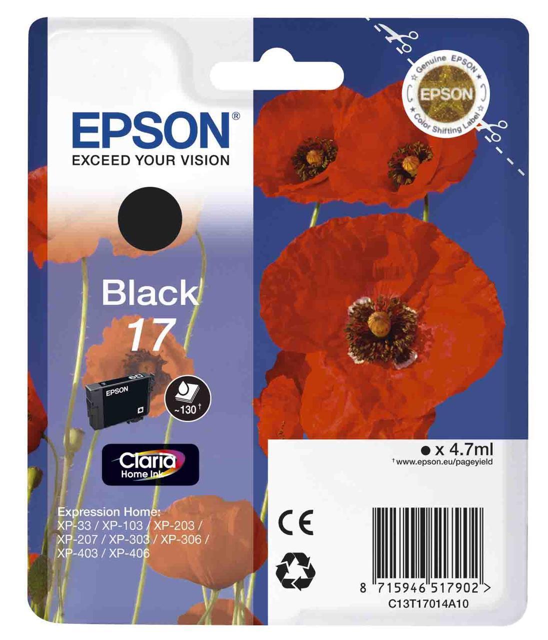 Картридж Epson C13T17014A10 (№17), Объем: 4,7 мл, Копий ( ISO 19752): 130, Цвет: Чёрный, Совместимость: XP33/1