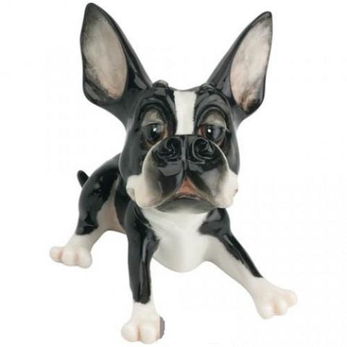 Статуэтка декоративная Arora Собака Терьер Таркин , Высота: 110 мм, Материал: Керамистоун, Цвет: Чёрно-белый,
