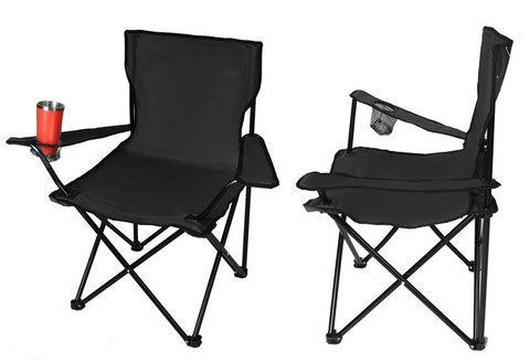 Кресло складное туристическое с подстаканником в чехле (Черный)
