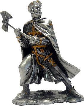 Статуэтка оловянный солдатик Wise Unicorn Рыцарь-крестоносец с топором, Высота: 105 мм, Материал: Оловянный сп